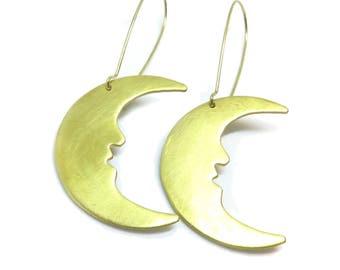 Large Crescent Moon Raw Brass Kidney Wire Earrings