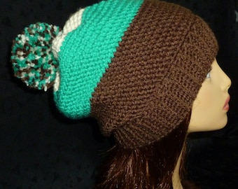 Carlyle Slouch Hat, Slouchy Beanie, Slouch Hat, Pine Green Slouch Hat, Slouch Hat, Color Blocking Hat - Teal, Brown and Ivory
