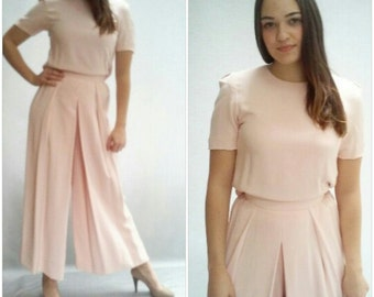 """Vtg Baby Pink two piece pants set suit / wide leg pants /  easy fit trousers / 26 """" wasit"""