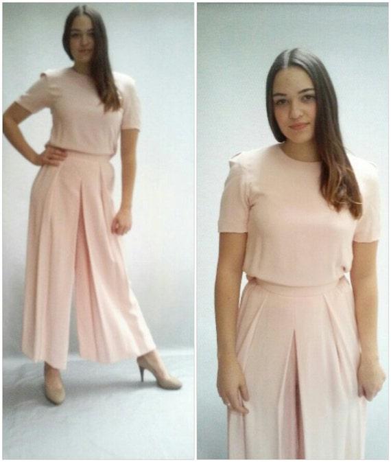 "80s pink SILK high waist PALAZZO pants / easy fit pants / 26"" waist"