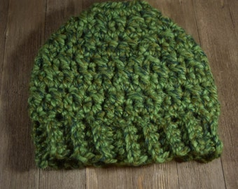 Crochet Messy Bun / Ponytail Hat ~ Spearmint Green