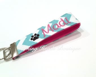 Personalized Keychain / Design your own Monogrammed  Key Fob with Mini Design /  Wristlet Quatrefoil Fabric Keychain/