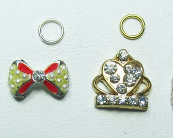 Nail Dangles: 3 Bows and a Crown Mini Faux Pearls and Rhinestones Small 10 A