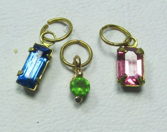 Nail Dangles: 3 Swarovski Crystals set in Brass Settings and they are Blue, Green and Pink