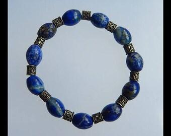 Lapis Lazuli With Pyrite Gemstone Bracelet,1 Strand,10x8mm,17.3g(c0216)