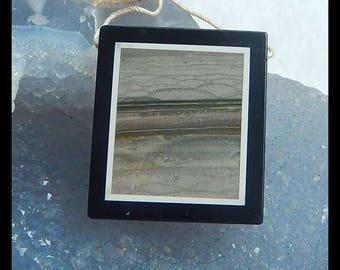 New,Wave Jasper,Obsidian Intarsia Pendant Bead,32x29x6mm,13.8g