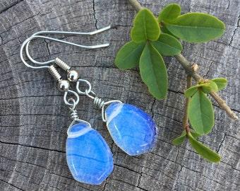 Sea Opal Briolettes . Opalite . Earrings