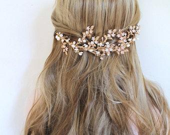 Gold Leaf Vine Boho Bridal Headpiece.  Freshwater Pearl Flower Hair Piece. Nature Inspired Bohemian Hair Comb.