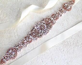 Rose gold Crystal Bridal Sash. Gold Rhinestone Beaded Applique Wedding Dress Belt. Silver Bridal Belt. JEWEL CRYSTAL Rose Gold