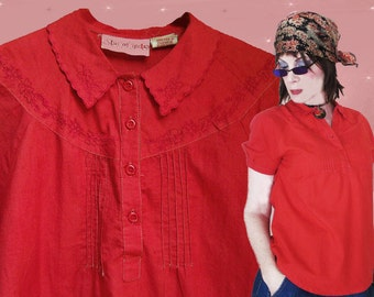 Red Boho Blouse - Womens 70s Vintage Embroidered Blouse - India Cotton Top - 70s Hippie Blouse - Red Cotton Blouse - Red Cotton Hippie Top