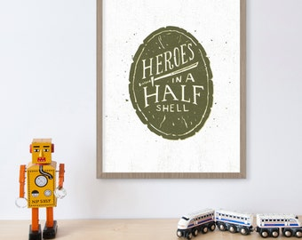 Ninja Turtles Wall Decor, Teenage Mutant, TMNT, Boys Room Wall Decor, Superhero, Heroes in a Half Shell, Boys Gift, Comic Book