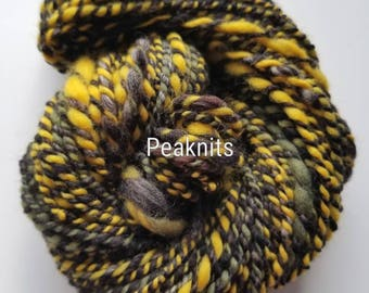 """Handspun Yarn - """"Hooah"""" Merino Wool - 46.67 yards (140 feet) Green, Yellow and Black, Andean 2 Ply - One of a Kind, Bulky, Thick, 2.5 ounces"""