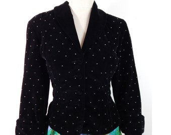 1950s Paul Sachs Original Black Velvet Jacket with Metal Studs. Cropped Jacket with Shawl Collar.  Small