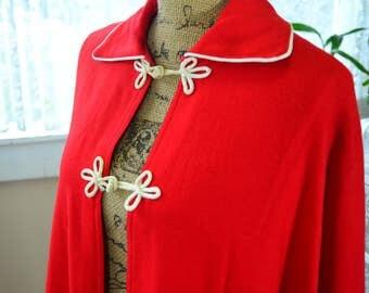 Vintage Red Cape Wool Cape - S - M - L