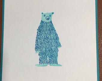 Bear letterpress print