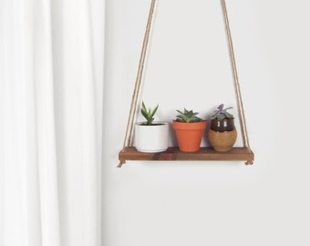 Reclaimed Wood Hanging Planter | Swing  Wall Shelf, Floating Shelving | Wooden Plant Stand, Holder, Jute Hanger | Unique Gift