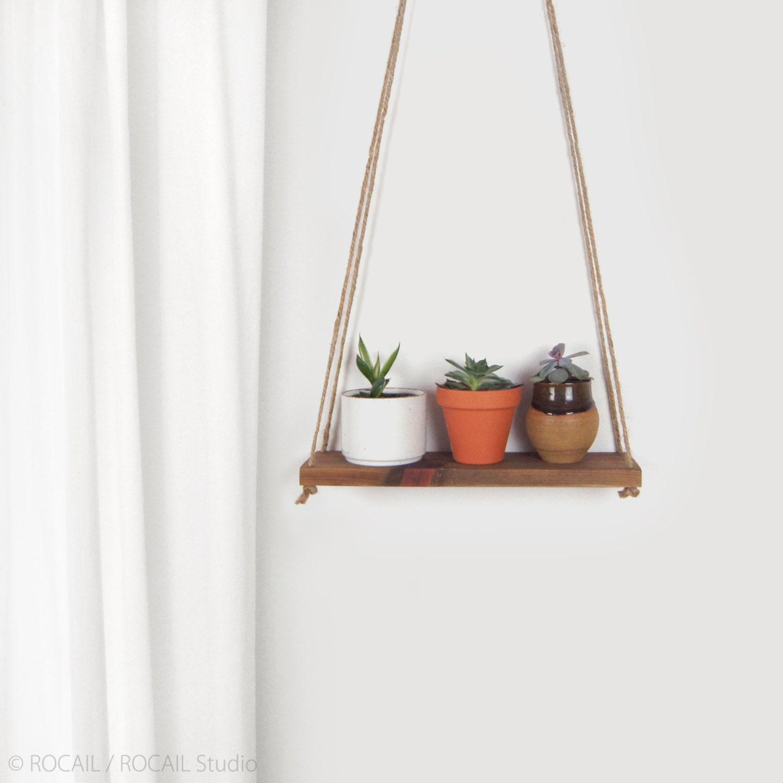 reclaimed wood hanging planter swing wall shelf floating. Black Bedroom Furniture Sets. Home Design Ideas