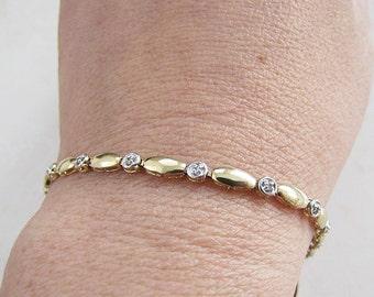 Estate 10K Gold  Diamond bracelet, 7.5 inches