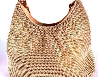 Whiting and Davis Gold Beaded Bubble Mesh Evening Bag