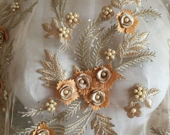 Pearl Beaded Lace Applique 3D Flowers Sequined Patch Motif For Costume Wedding Bodice Bridal Veil Accessories High Quality #10 khaki