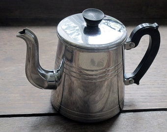 Circa 1930 , French antique  coffee pot  chromed metal, lovely trim , bakelite handle