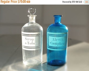 1 large French antique  apothecary jar-  pharmacy bottle -  clear glass - engraving label- Curio cabinet- sirop de Tolu