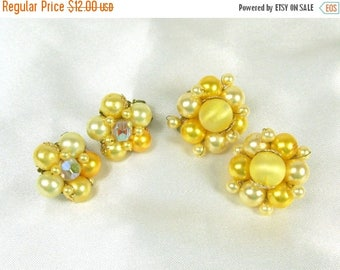 Spring Special Sale 2 Pair Vintage Earrings Yellow Faux Pearl Glass Aurora Borealis Cluster Clip On