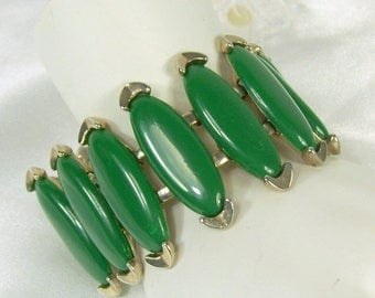 Spring Special Sale Vintage Bracelet Dark Green Oblong Shaped Lucite Thermoset Cuff Gold Tone