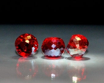 4 pcs 12x9mm Transparent Red with Gold  Highlights Multi-Faceted Rondelle Crystal Beads