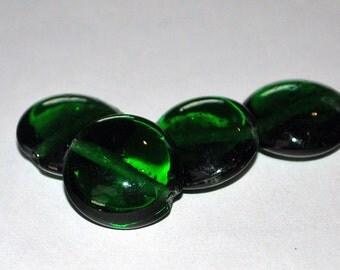 4 pcs 20mm Transparent Emerald Green Lentil Glass Beads