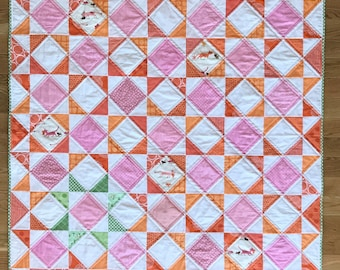 Pink and Orange Baby Quilt - Square in a square stars Heather Ross Tiger Lily