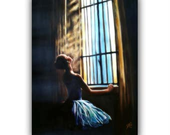 OilPaintingCanvas  ENLIGHTENMENT, OriginalOilOnCanvas  BalletPainting ballerina dancer window ETSY romantic #stain-glass #SignedByTheArtist