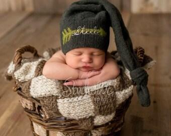 Newborn Hat - Name Hat - Arrow Hat - Newborn Name Hat - Knot Hat - Baby Hat - Baby Boy Hat