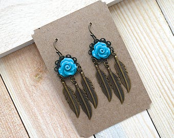 Blue Turquoise Rose / Filigree Embellishment / Feather Charm / Brass Earrings
