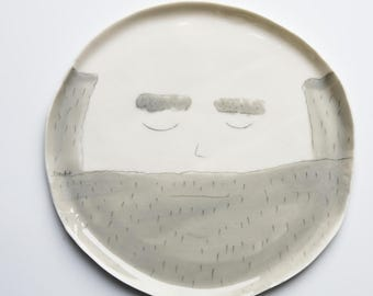 Funny ceramics, large porcelain plates, face plates, tableware set, breakfast plate set, quirky ceramic dishes, karoart ceramics
