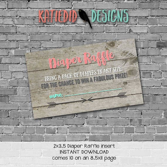 Diaper raffle tribal INSTANT DOWNLOAD item 1417 insert enclosure card wood rustic chic arrows mint coral diaper and wipes raffle card
