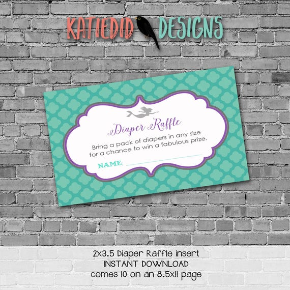 Diaper raffle INSTANT DOWNLOAD item 1365 insert enclosure card mermaid baby shower purple teal aqua gray diaper and wipes raffle card