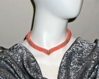 Coral and Gold Woven Bead V-Shape Contemporary Choker in Shades of Salmon & Angelskin With 14K Bead Clusters and Clasp