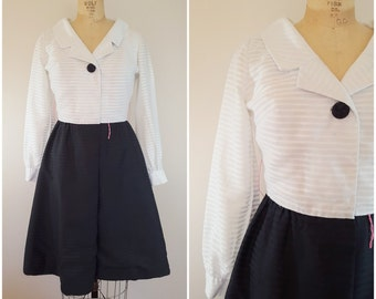 Vintage 1960s Dress / Black and White Fit n Flare / Sheer Sleeves / Leslie Fay / Small Medium