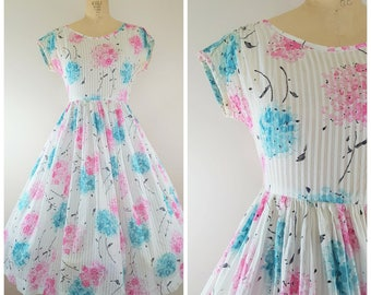 Vintage 1950s Dress / Cherry Blossoms / Spring Floral Dress / Teal and Pink / Small