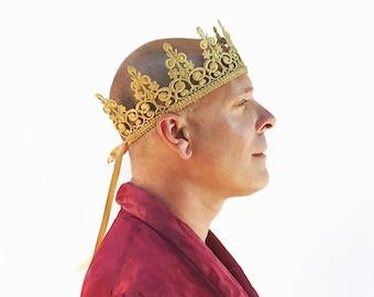 Men's Gold Crown, Gold Lace Crown, Crown, Gold Crown, Costume, Pride, Birthday Crown, Mens' Crown, Black Lace Crown, Black Crown, Gay Pride