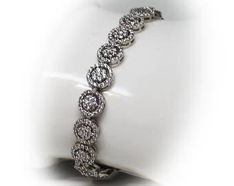 Sterling Silver CZ Halo Floral Bridal Bracelet