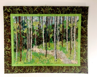 Confetti Landscape Quilt  Quilted Wall Hanging  Fiber Art  Woodland Trail  Gift for Hiker  Birch Tree Decor  Sally Manke  Quilts for Sale