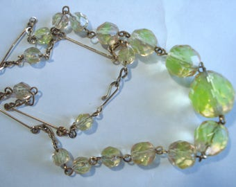Art Deco Necklace Two Tone Glass Beads 1920's 1930's