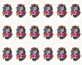 Victorian Flower Stickers 1 | Envelope Seals | Hibiscus Flowers | Set of 18 Glossy Seals 1.5 by 2.5 Inches