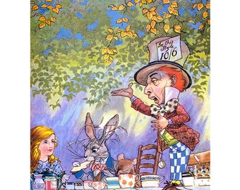 Alice in Wonderland Greeting Card - Tea Party Mad Hatter - Charles Folkard Repro