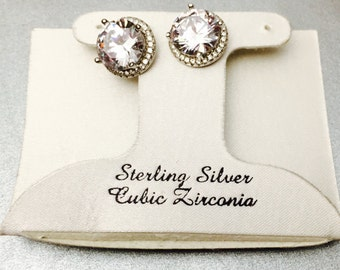 Large CZ Sterling Earrings, Vintage  Clear stone, wedding/bridal accessory, Clearance Sale, item no S431