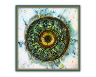 Round painting, abstract, square, giclee print on canvas, eye symbol, green wall decor, elven, forest, leaves, batik, Bistra Sirin, fantasy