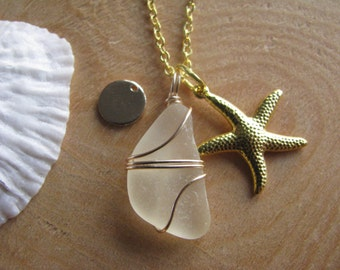 Palest Yellow Sea Glass Necklace with Gold Starfish and Personalized Letter Charm Yellow Beach Glass Jewelry