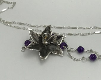 Azalea Flower Sterling Silver Pendant Necklace with Amethyst Stone Silver Chain |The Bleu Giraffe |Hand made | Metalsmith | Hand Fabricated